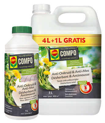 Onkruidbestrijder moestuin - Compo anti onkruid en anti mos